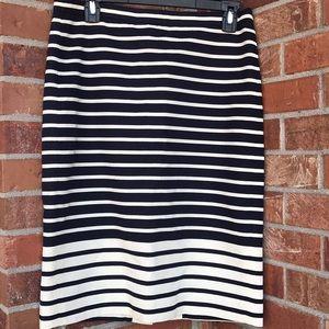 J. Crew navy and cream striped skirt